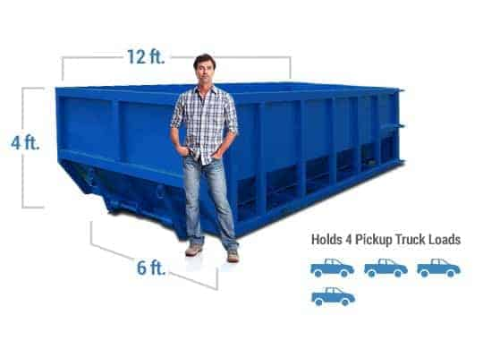 20 yard dumpster rental graphic with dimensions