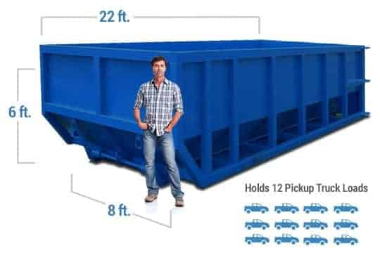 30 yard dumpster dimensions with man