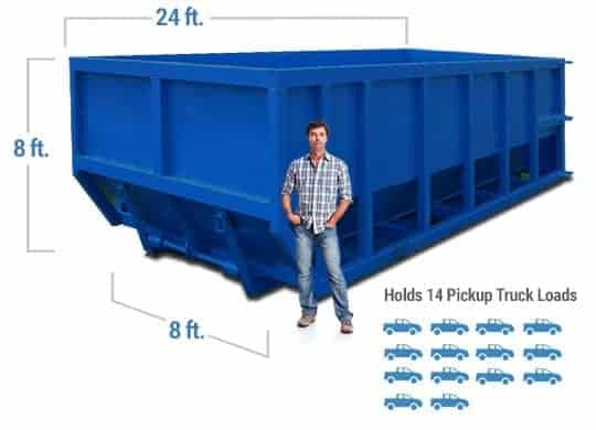 40 yard dumpster dimensions with man