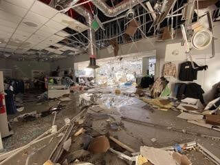 inside an office destroyed by a tornado